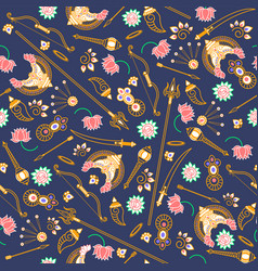 Seamless pattern goddess durga indian vector