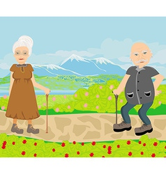 Senior couple walking in sunny day vector