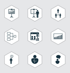 set of 9 management icons includes report vector image