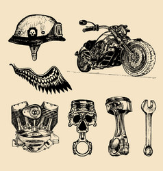Set of vintage bikers elements hand vector