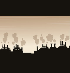 Silhouette of pollution industry bad environment vector