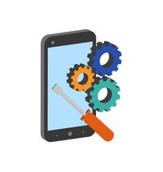 smartphone repair symbol flat isometric icon or vector image