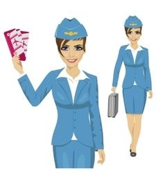 Stewardess dressed in blue uniform vector