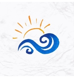 Sun wave ocean illlustration vector