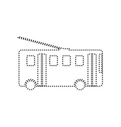 Trolleybus sign black dotted icon on vector