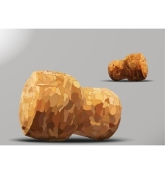 Two corks lying gray background vector