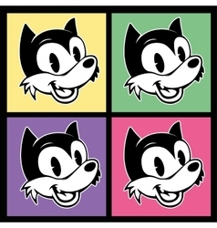 Vintage toons four images of retro cartoon vector