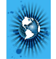 white globe on blue vector image vector image