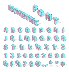 Isometric alphabet font vector
