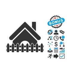 Home fence flat icon with bonus vector