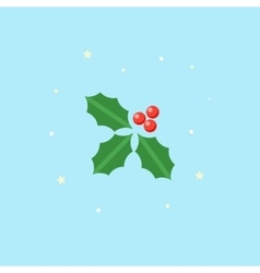 Holly icon christmas plant in flat style vector