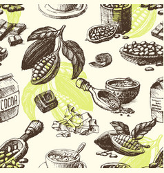 Cocoa hand drawn sketch seamless pattern vector
