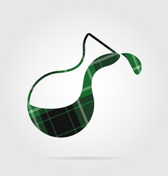 Green black tartan icon - flask with a drop vector