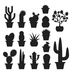 Monochrome set of various cactus in pots vector