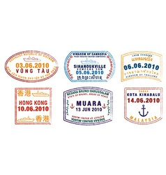 Various ship passport stamps vector