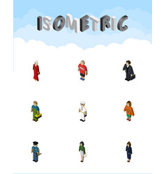 Isometric person set of female plumber vector