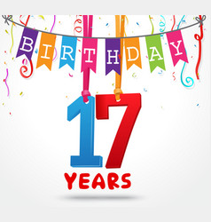 17 years birthday celebration greeting card design vector