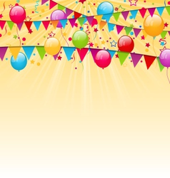 Holiday background with colorful balloons hanging vector