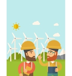 Two workers talking infront of windmills vector