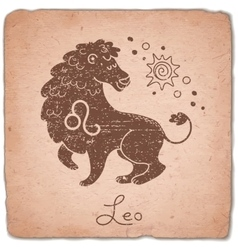 Leo zodiac sign horoscope vintage card vector