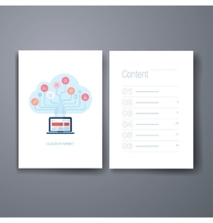 Modern cloud computing flat icon cards design vector