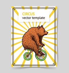 Sketch bear on a bike in vintage style vector