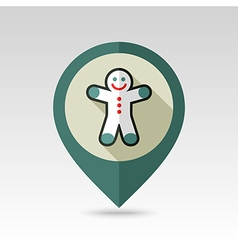 Gingerbread man christmas flat pin map icon vector
