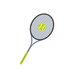 Tennis racquet and ball flat icon vector