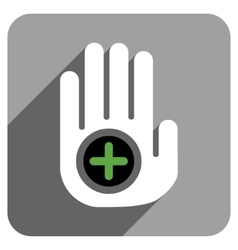 Hand medical marker flat square icon with long vector