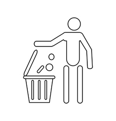 Man throwing garbage in a bin icon outline style vector