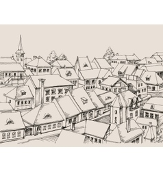 House roofs drawing small cityscape vector