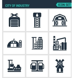 Set of modern icons city of industry vector