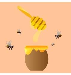 Apiary symbols bee honey honeycomb vector