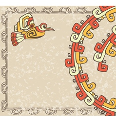 Aztec style bird and pattern on dirty backgroun vector image vector image