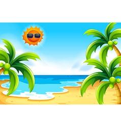 Beach under the sun vector image vector image
