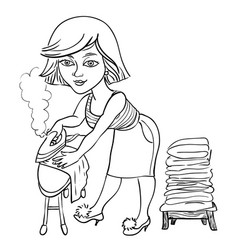 Cartoon image of woman ironing vector
