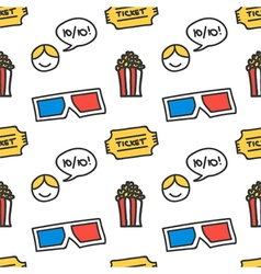 Cinema movie doodles seamless pattern background vector
