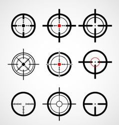 Crosshair gun sight target icons set vector image vector image