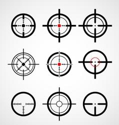 Crosshair gun sight target icons set vector