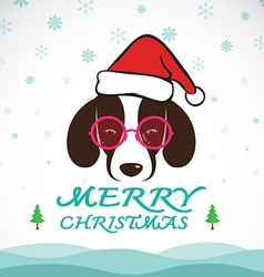 Dog merry christmas vector