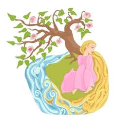 Dreamy girl with long hair on the river bank vector