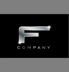 F silver metal letter company design logo vector
