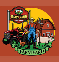 Farmer pose with his tractor and farm yard vector