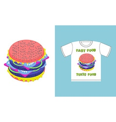 Fast food - toxic food Hamburger in acid colors a vector image vector image