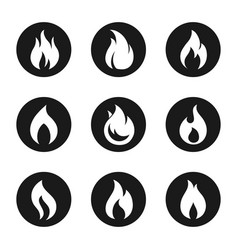 fire flame icon button set vector image
