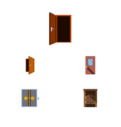 Flat icon approach set of approach door lobby vector