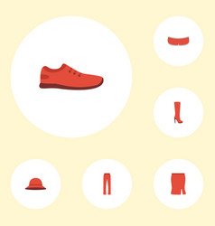 Flat icons pants gumshoes apparel and other vector