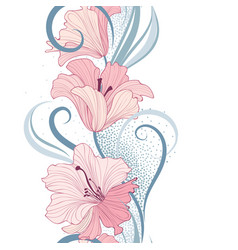 floral seamless pattern flower lily border vector image