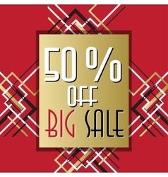 Golden red sale banner template in art deco vector image vector image