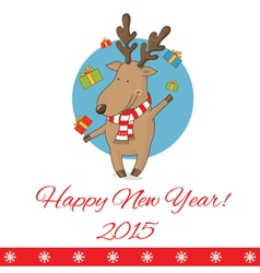 greeting card with cartoon deer vector image vector image